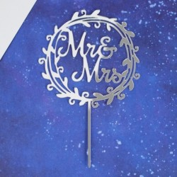 Топпер Mr&Mrs венок, серебро