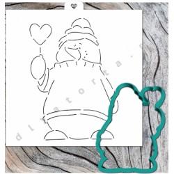 Вырубка Снеговик с сердцем