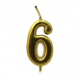 Свеча Цифра6, золото