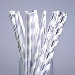 Трубочки серебро «Полоска»,...